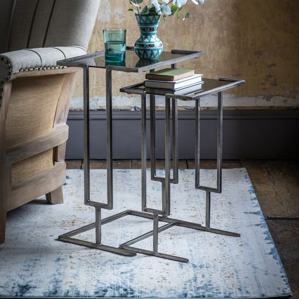 Blake Nesting Tables - Grey Nickel