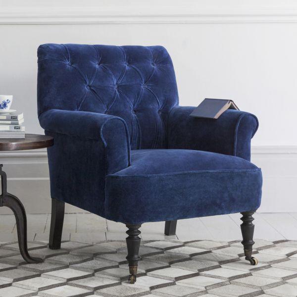 Pimlico Blue Velvet Armchair