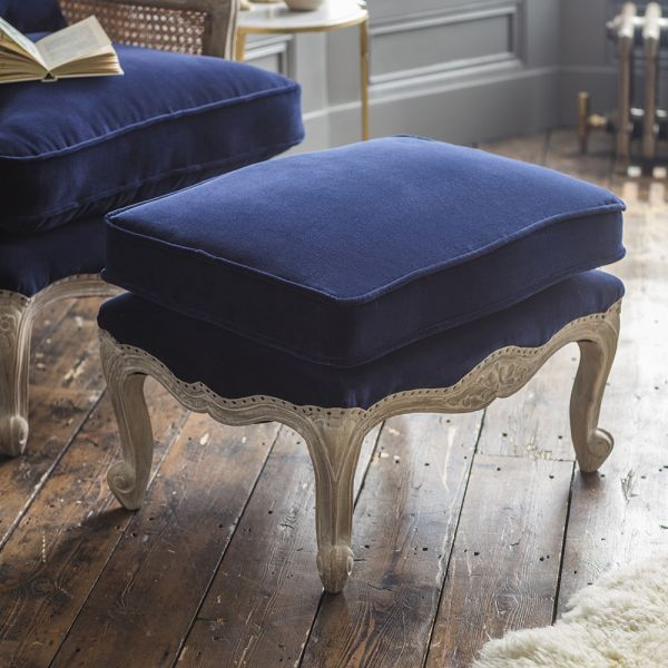 Amélie Footstool in Navy Velvet
