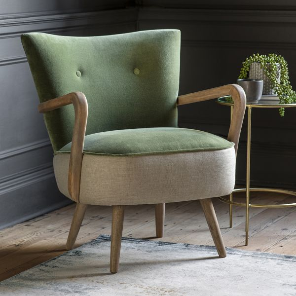 Calvin Armchair in Olive Velvet and Linen