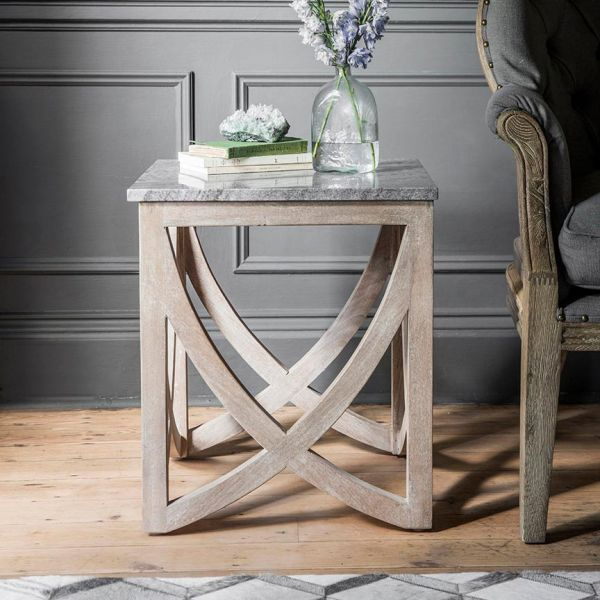 Lily Side Table with with a Grey Marble Top