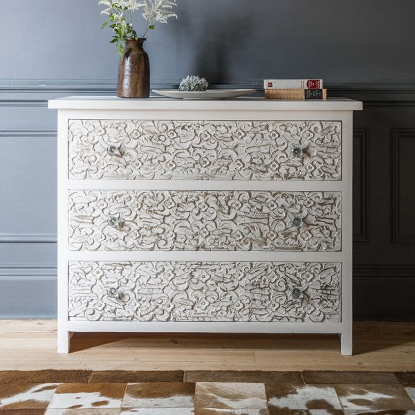 Atika White Carved Chest of Drawers