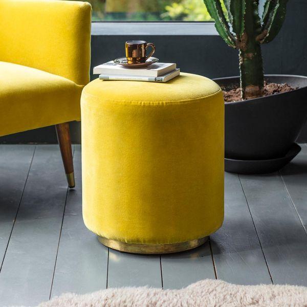 Carnaby Footstool in Mustard Yellow Velvet