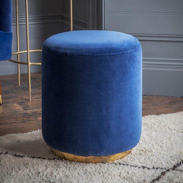 Carnaby Footstool in Blue Velvet