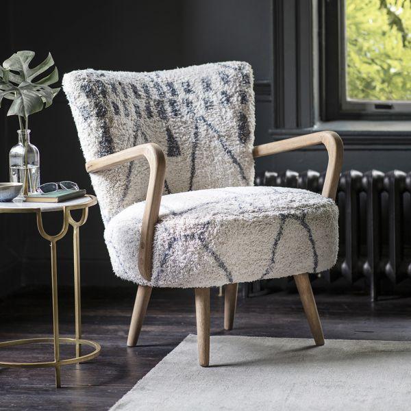 Calvin Armchair in Moroccan Printed Cotton