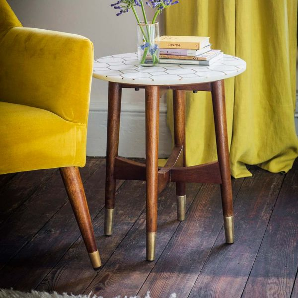 Trent White Marble and Brass Inlay Side Table