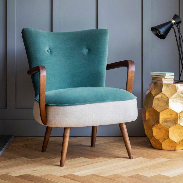 Calvin Armchair in Green Velvet and Linen