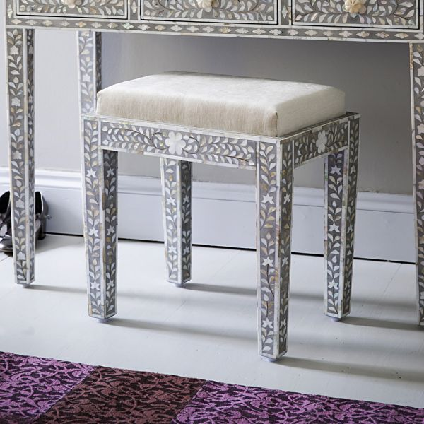 Mother of Pearl Inlay Stool in Grey