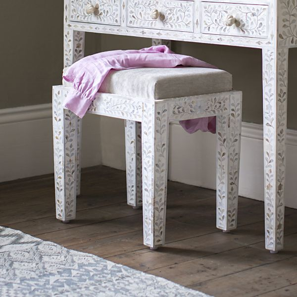 Mother of Pearl Inlay Stool in White