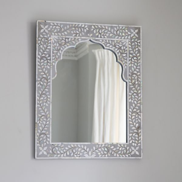 Kasbah Mother of Pearl Wall Mirror in Grey