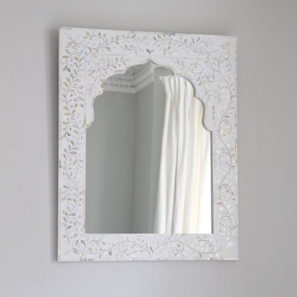 Kasbah Mother of Pearl Wall Mirror in White