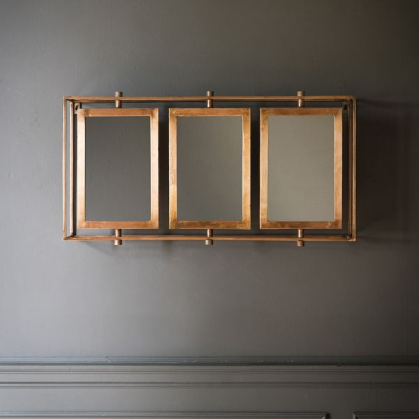 Tribeca Triple Wall Mirror in Copper