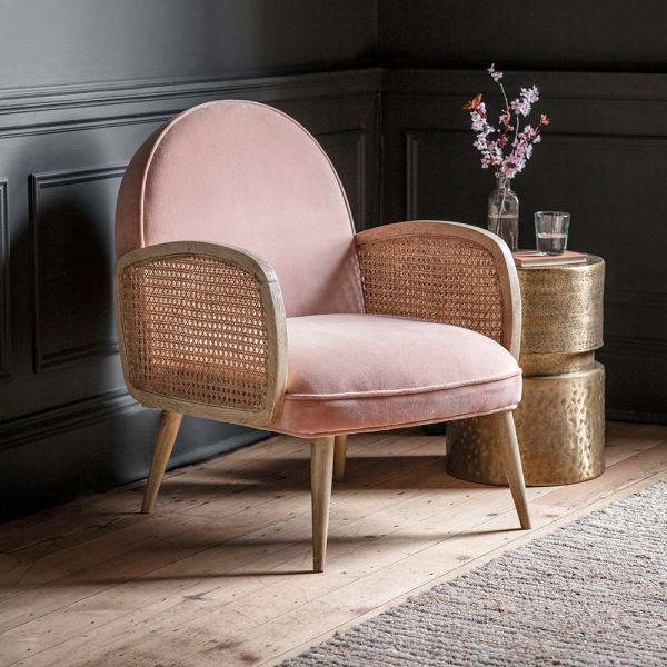 Emmeline Pink Velvet Armchair