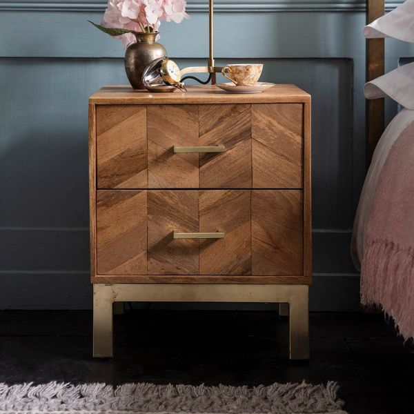 Chevron Bedside Table, Contemporary Style Whitewash Wood and Brass With 2 Drawers by Atkin and Thyme