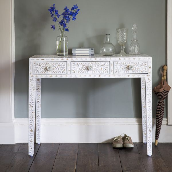 Mother of Pearl Console Table in White