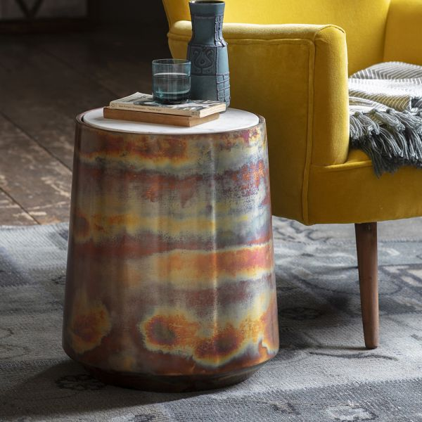 Burnished Copper and Marble Side Table