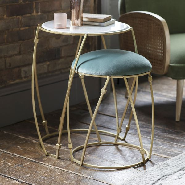 Delilah Nesting Side Table and Stool