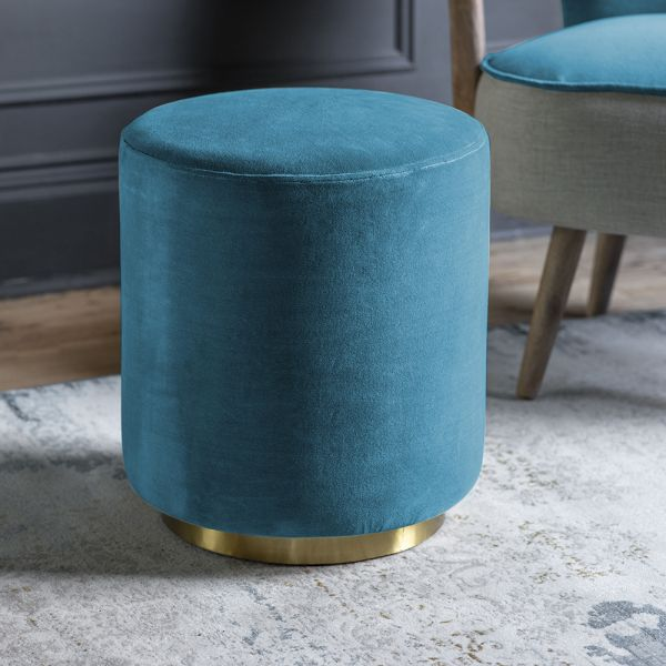 Carnaby Footstool in Blue Teal Velvet