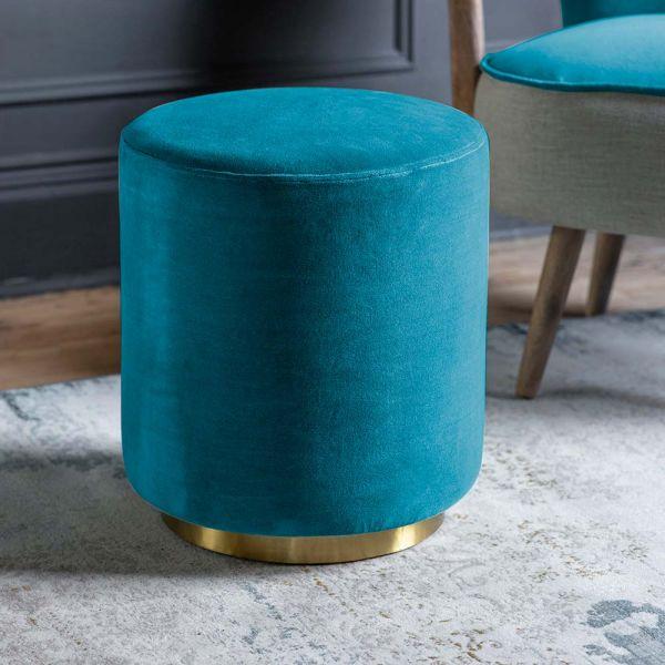 Carnaby Footstool in Blue Teal Velvet