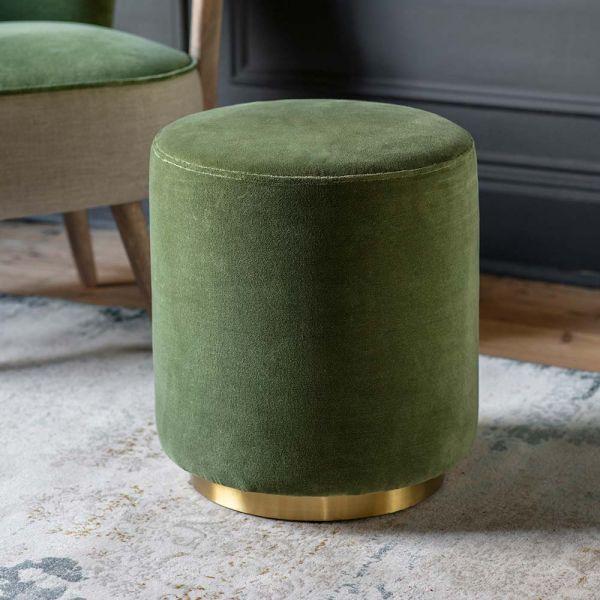 Carnaby Footstool in Olive Green Velvet