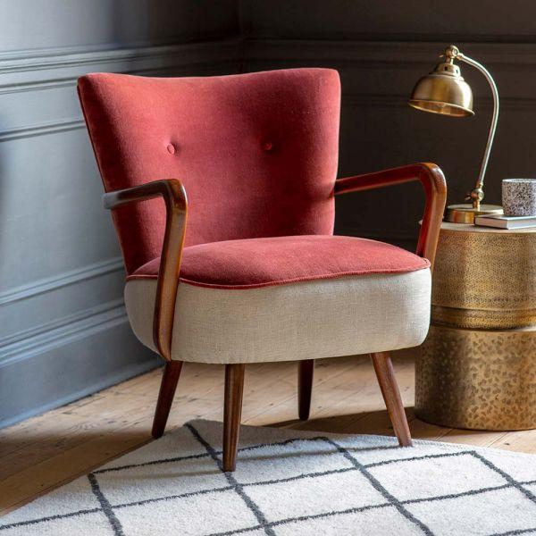 Calvin Armchair in Terracotta Velvet and Linen