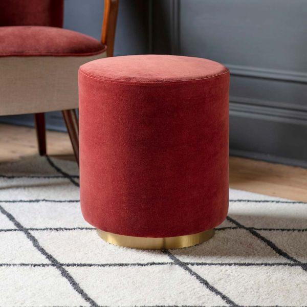 Carnaby Footstool in Terracotta Velvet