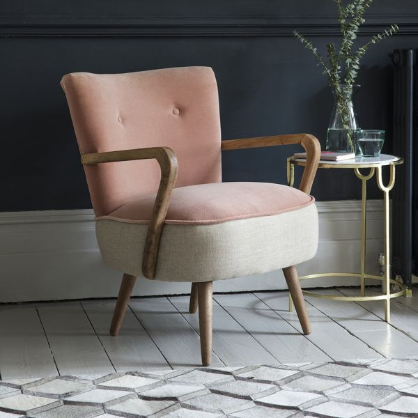 Calvin Armchair in Champagne Pink Velvet and Linen