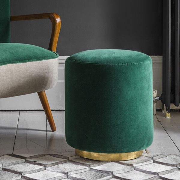 Carnaby Footstool in Emerald Green Velvet