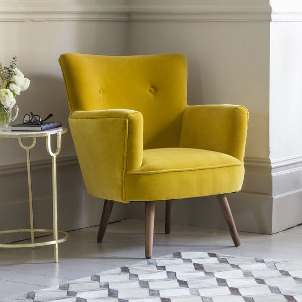 Archie Armchair in Mustard Yellow Velvet