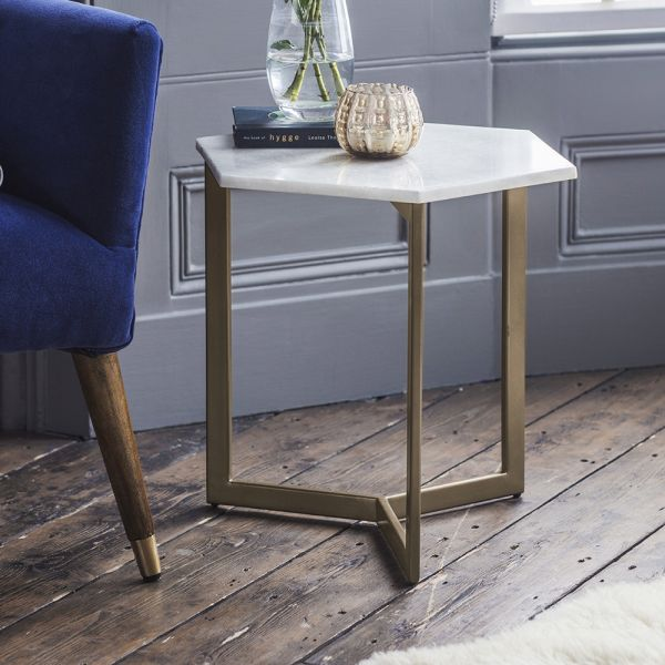 Aldwych Marble Side Table - Gold