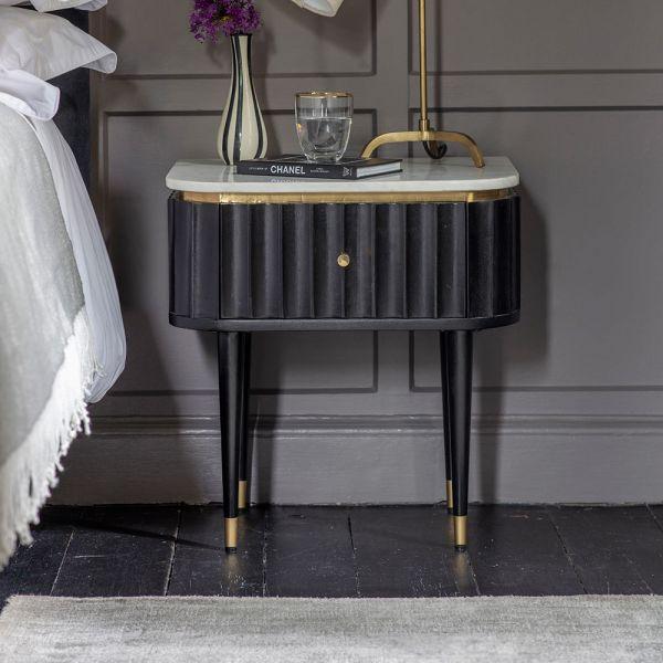 Flute Marble Bedside Drawer - Black