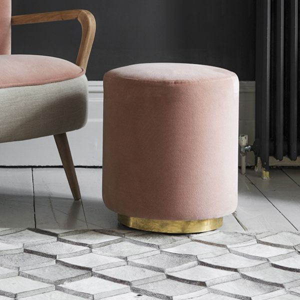 Carnaby Footstool in Champagne Pink Velvet