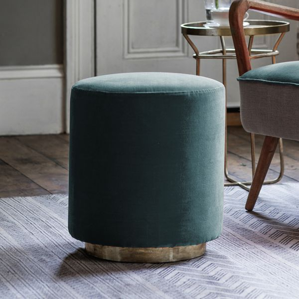 Carnaby Footstool in Green Velvet
