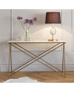 Stellar White Marble Console Table