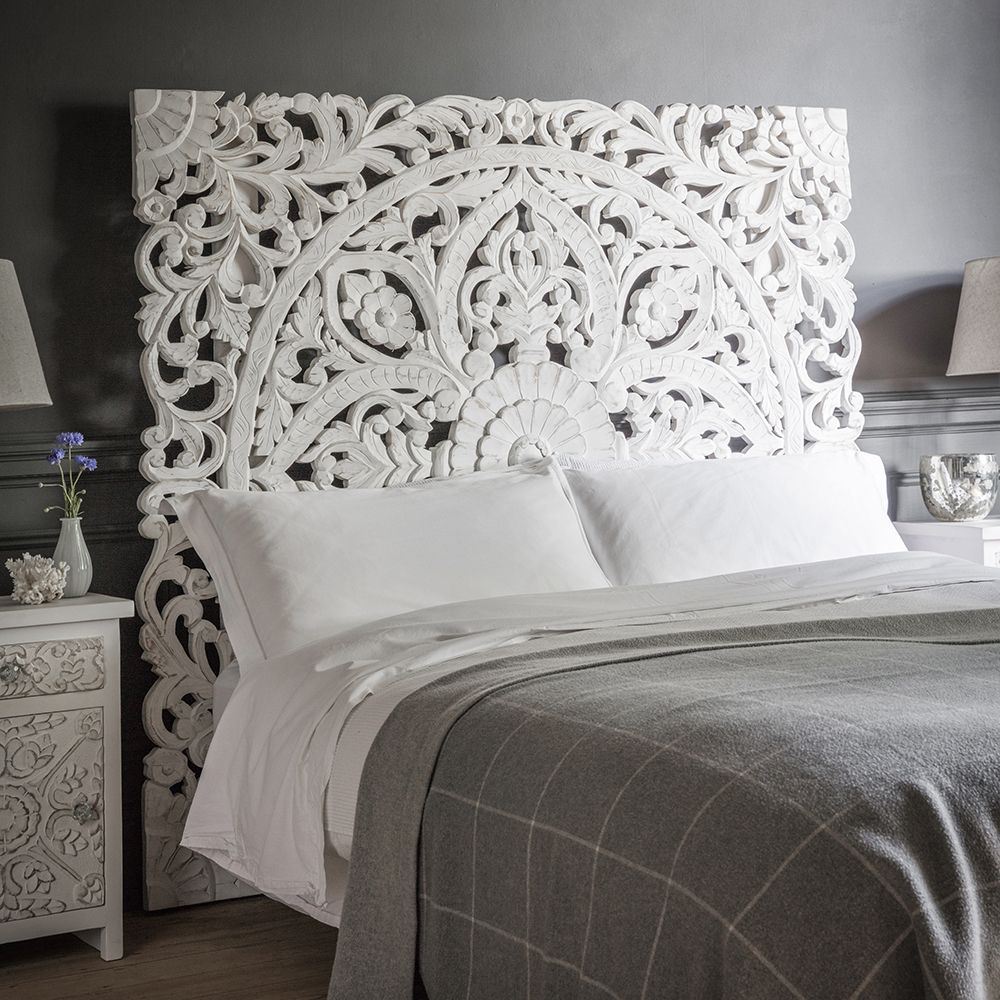 Atika white carved headboard double bed headboard atkin and thyme