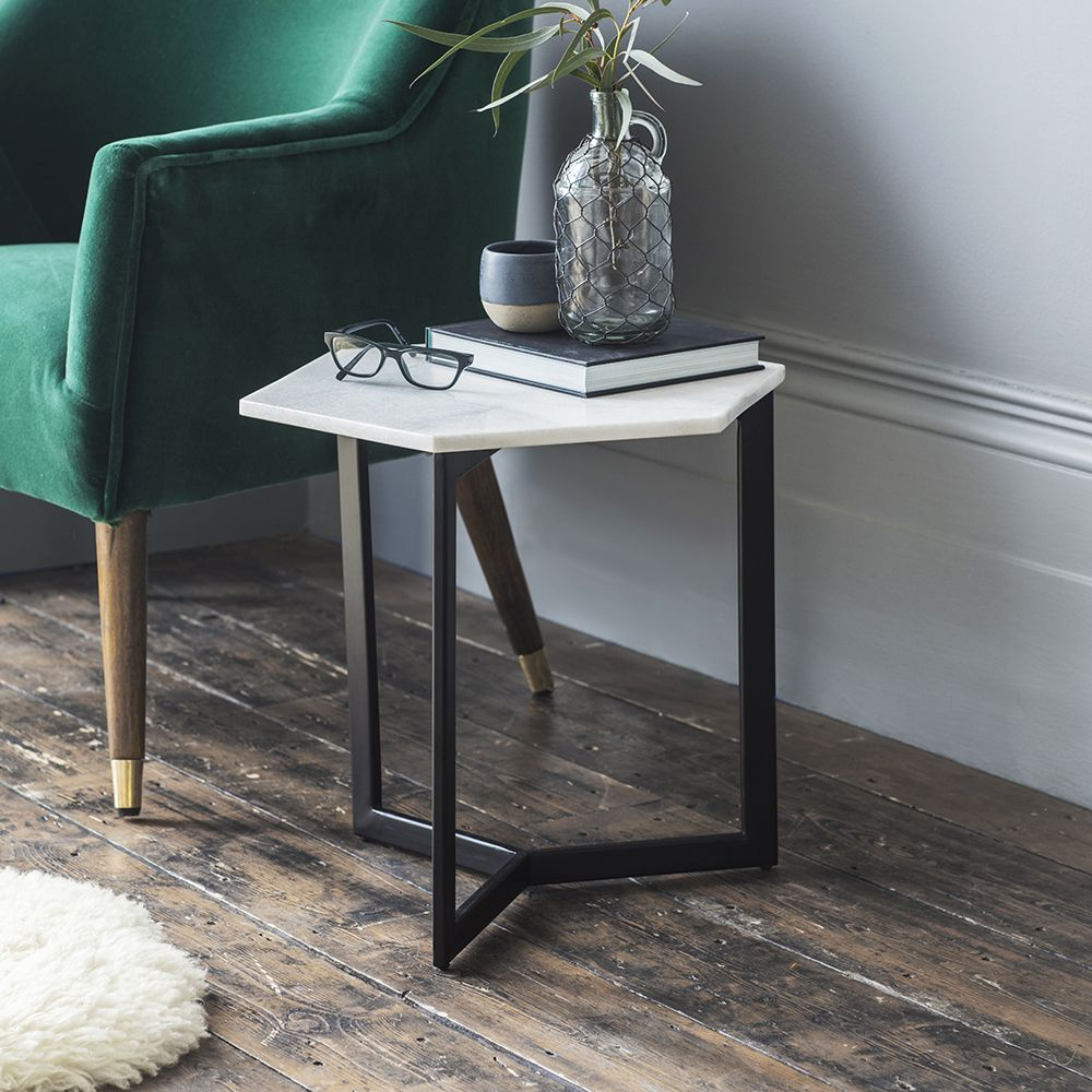 aldwych marble side table black atkin and thyme. Black Bedroom Furniture Sets. Home Design Ideas