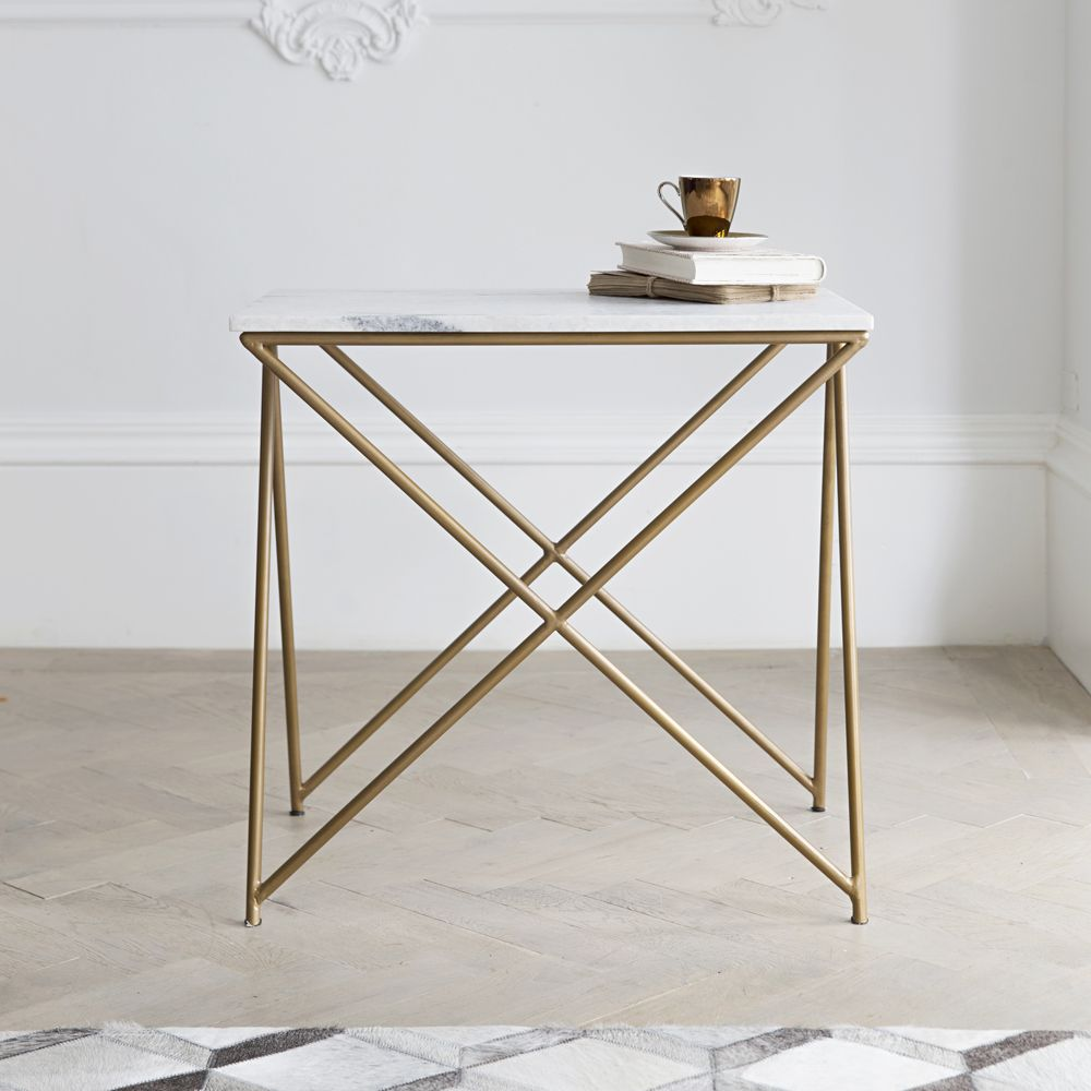 stellar white marble side table atkin and thyme. Black Bedroom Furniture Sets. Home Design Ideas