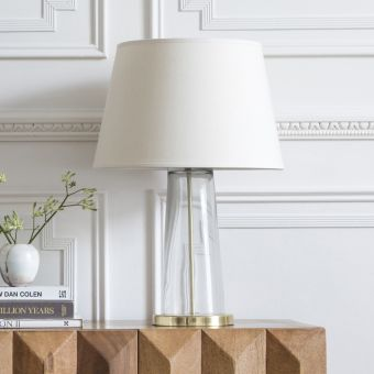 Kensington Glass Table Lamp in Brass With Linen Shade