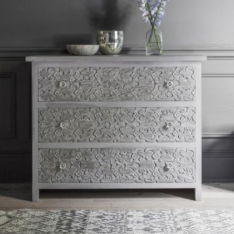 Atika Grey Carved Chest of Drawers