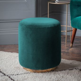 Carnaby Footstool in Teal Velvet