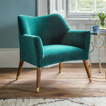 Astoria Armchair in Teal Velvet