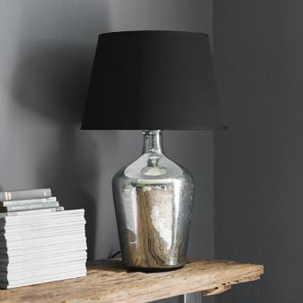 Genie Glass Table Lamp in Antique Silver