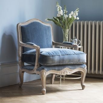 Céline Armchair in Grey Velvet