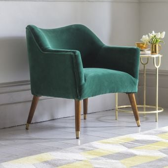 Astoria Armchair in Emerald Green Velvet