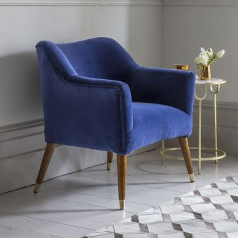 Astoria Armchair in Blue Velvet