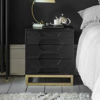 Hex Bedside Drawers - Black