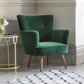Archie Armchair in Emerald Green Velvet