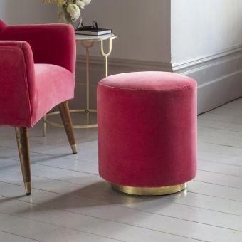Carnaby Footstool in Coral Velvet