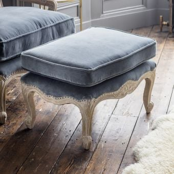 Céline Footstool in Grey Velvet