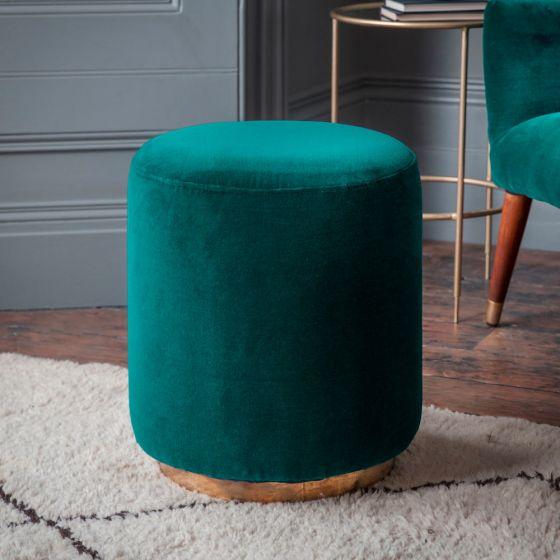 Carnaby Footstool in Teal Velvet